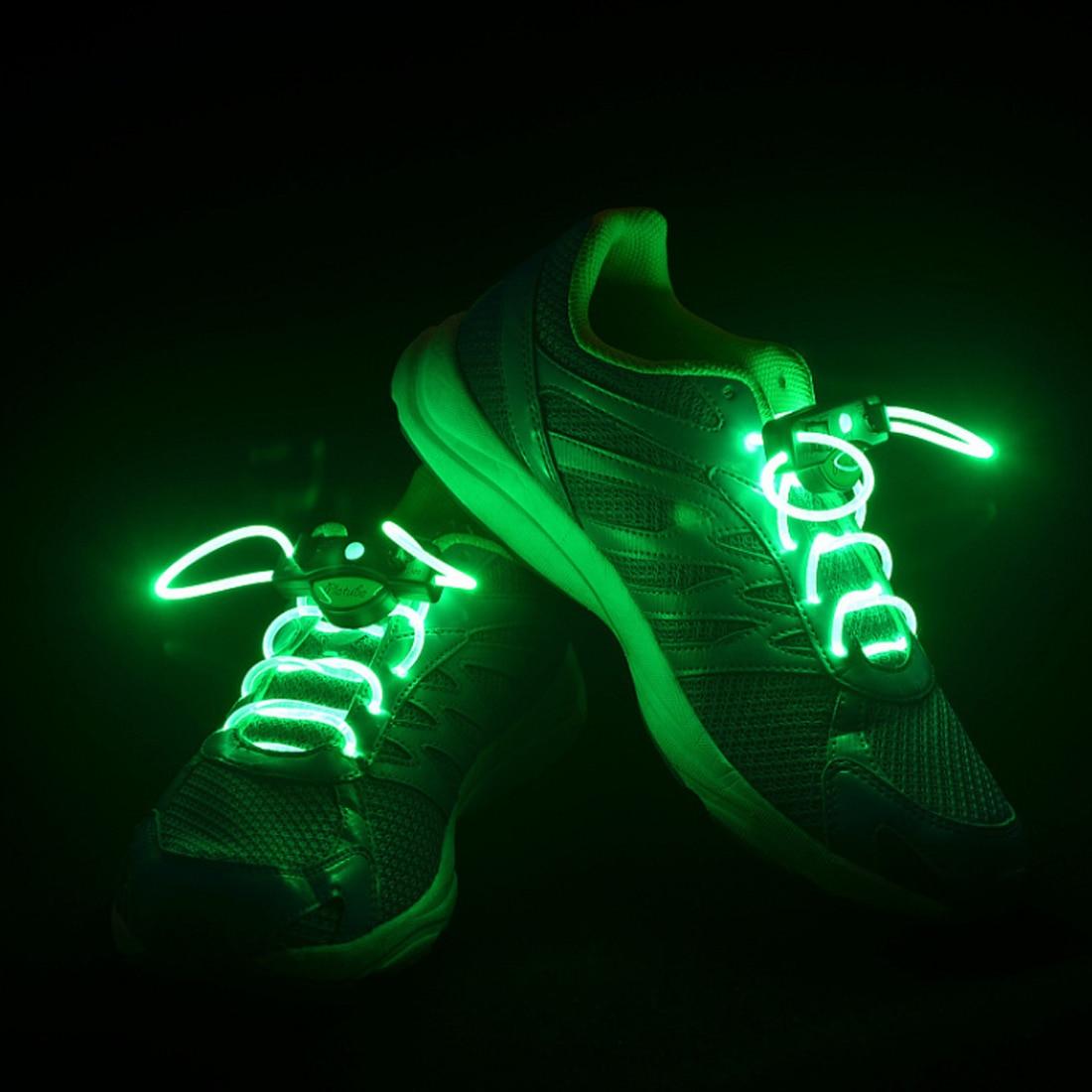 Hot  2pcs! Fashion LED Shoelaces Shoe Laces Flashing Light Up Glow Stick Strap Neon Shoe Strings Luminous Laces Disco Party