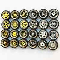 4 Pcs/set 1:64 Model Modified Tire Diecasts Alloy Wheel Tire Rubber Toy Vehicles General Model Of Car Change Accessories