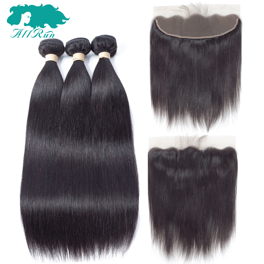 Allrun 3 Bundles With Frontal Brazilian Straight Bundles Lace Front Human Hair Weave Bundles With Closure NonRemy Hair Extension