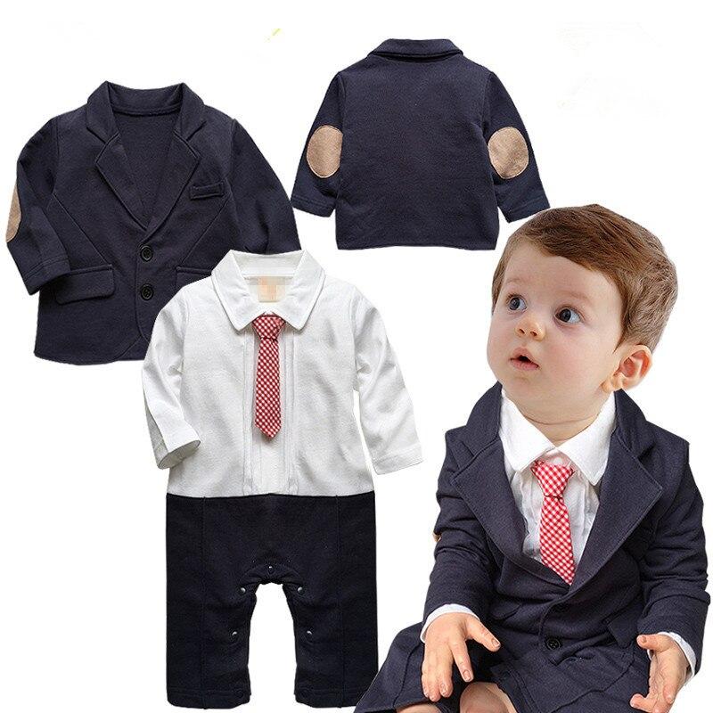 high Quality New Spring Boy Gentleman 2pcs/set Baby Infant Clothes Long Sleeve T-shirt Pants Coat Kids Party Suit
