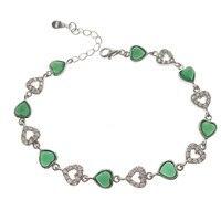 100% 925 Ayar Gümüş Kalp Aşk Charm Bilezikler Kadınlar Için Yeşil Taş metal manşet bilezik femme Moda Takı