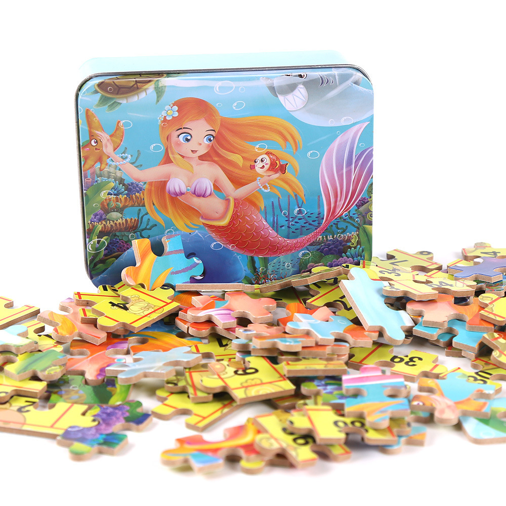 100pcs new arrive 100 pieces of wood puzzle fairy tale jigsaw puzzle children cartoon puzzle toys with a iron box MG40 children alphanumeric jigsaw puzzle toys foam mat 36 pieces per package education toys building