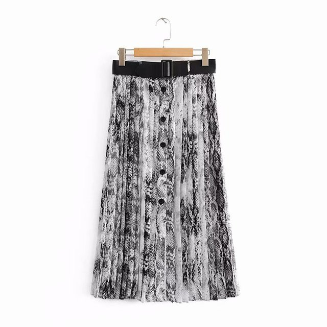 1e99cbe299b3 2018 New Women Vintage sexy snake skin printing pleated midi skirt faldas  mujer ladies PU sashes