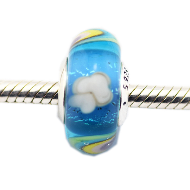 Good Quality 925 Sterling Silver Iridescent Rainbow Murano Glass Charm Beads for
