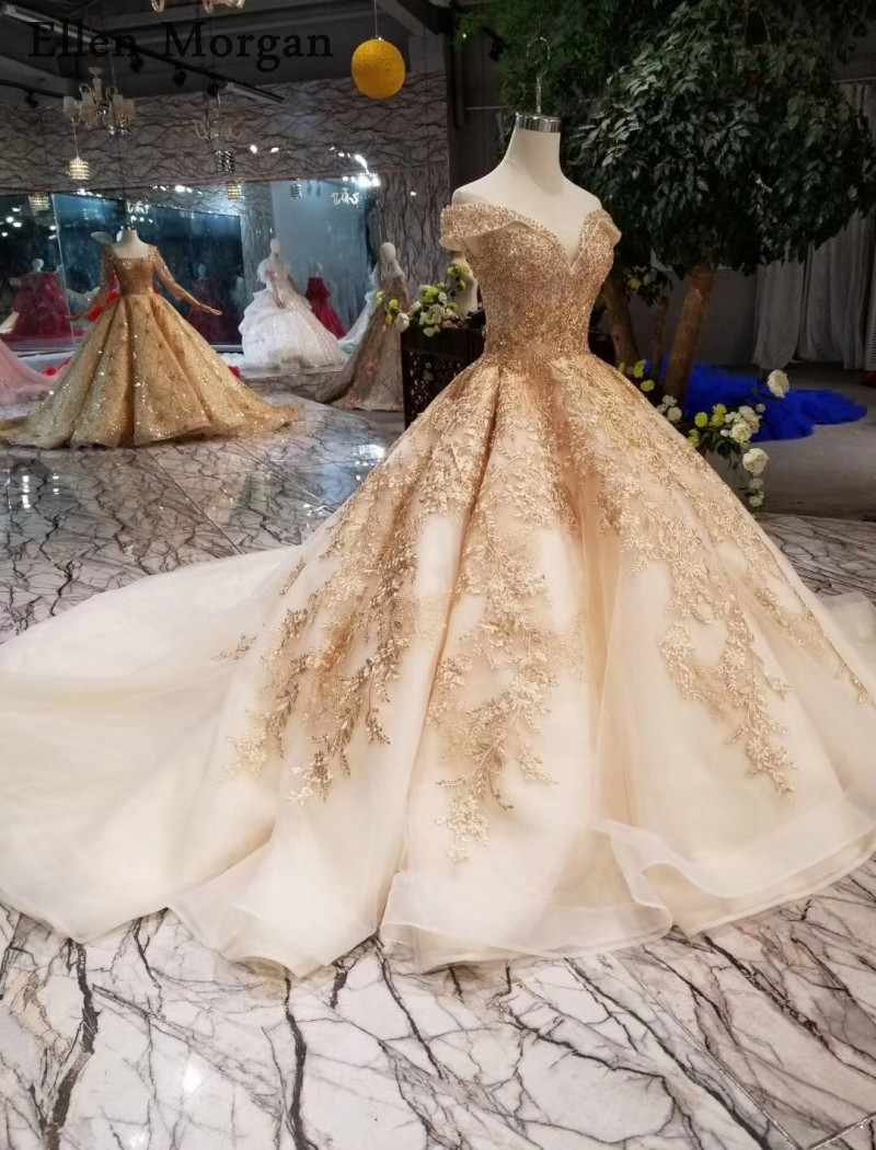 ... Gold Ball Gowns Wedding Dresses 2019 Sexy Off Shoulder Lace up Beaded Corset  Custom Made Real ... b6456c23debe