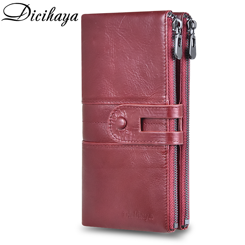 DICIHAYA NEW Genuine Leather Women Wallet Zipper Long Women Leather PHONE BAG Brand Coins Purse COW Leather Wallets Card Holder