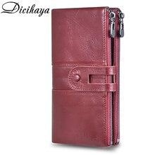 DICIHAYA yeni hakiki deri kadın cüzdan fermuar uzun kadın deri telefon çanta marka sikke çanta inek deri cüzdan kart tutucu