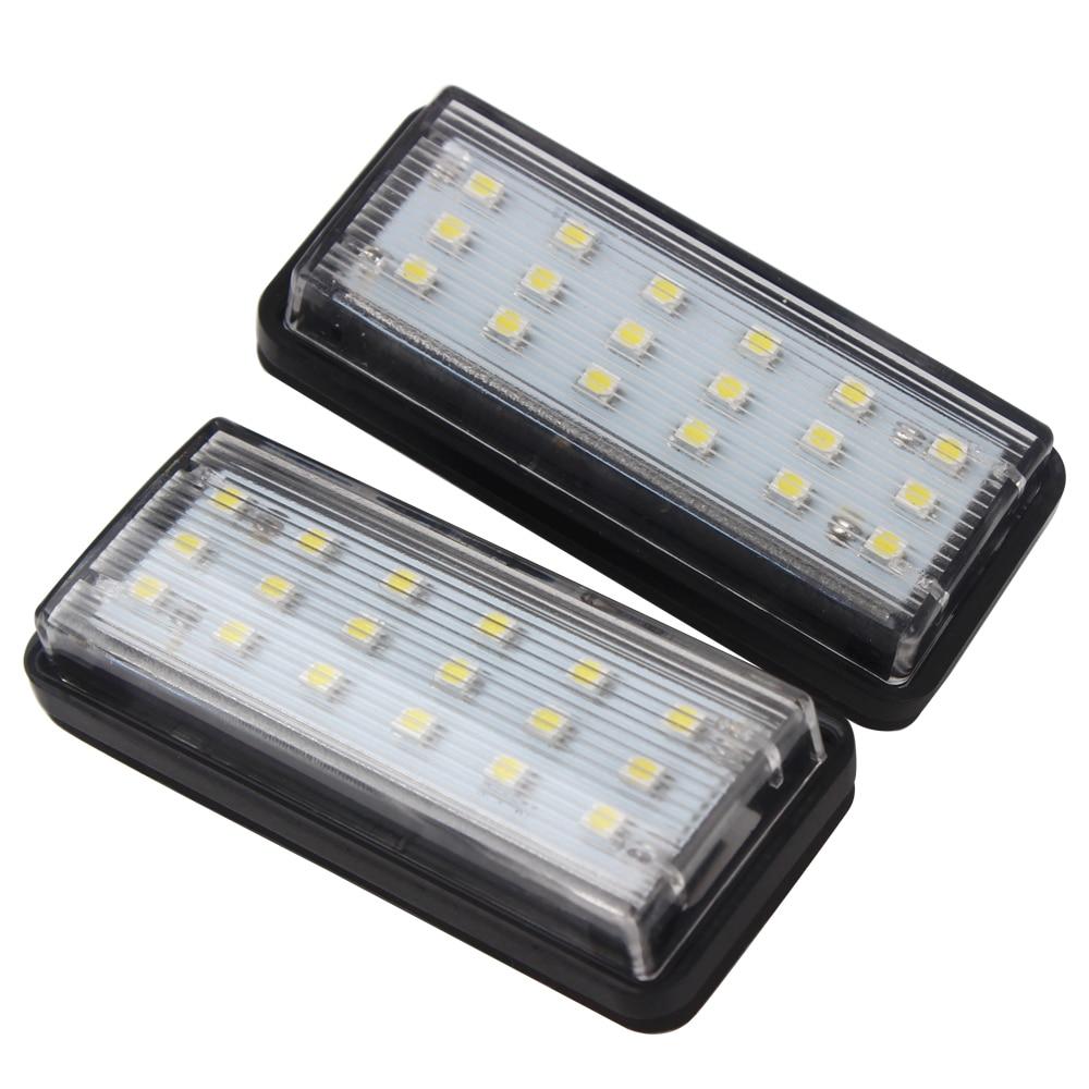 12V For Toyota Land Cruiser Prado Reiz Mark X 2pcs Number Plate Lamp SMD3528 LED Car License Plate Lights For Lexus LX470 LX570