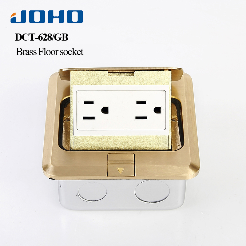JOHO Brass Panel Standard Grounding FAST Pop Up 6 Hole Floor Socket Outlet Box Power Outlet With 15A UL Listed Receptacle