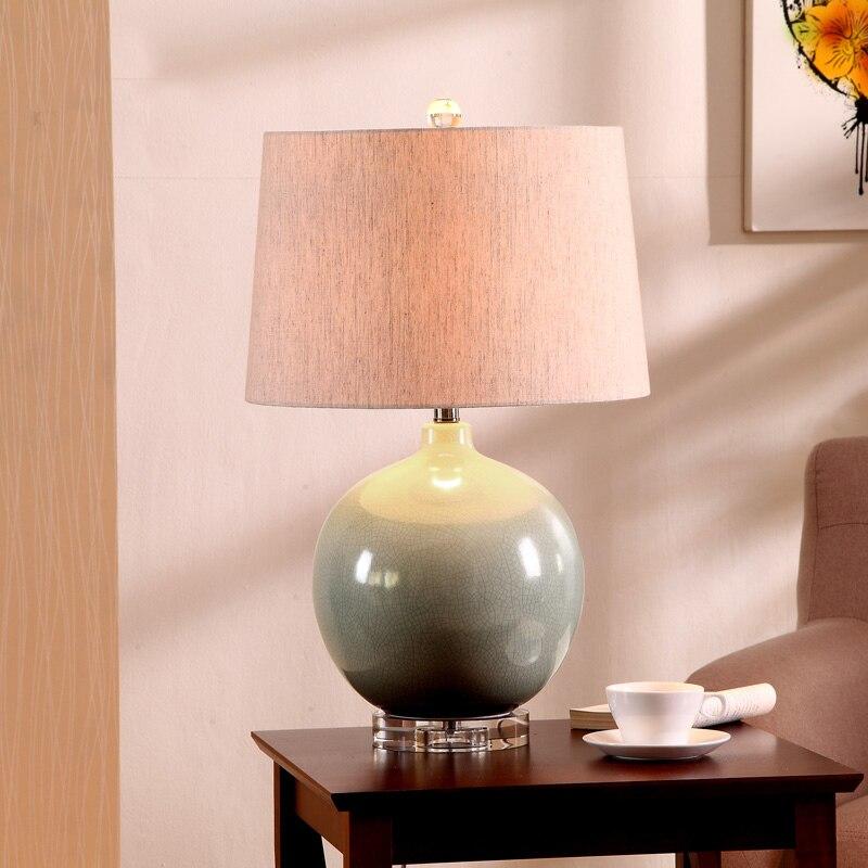 Европейский стиль сада теплый романтический синий зеленый Керамика гостиная ретро спальня ночники с crystal base настольная лампа