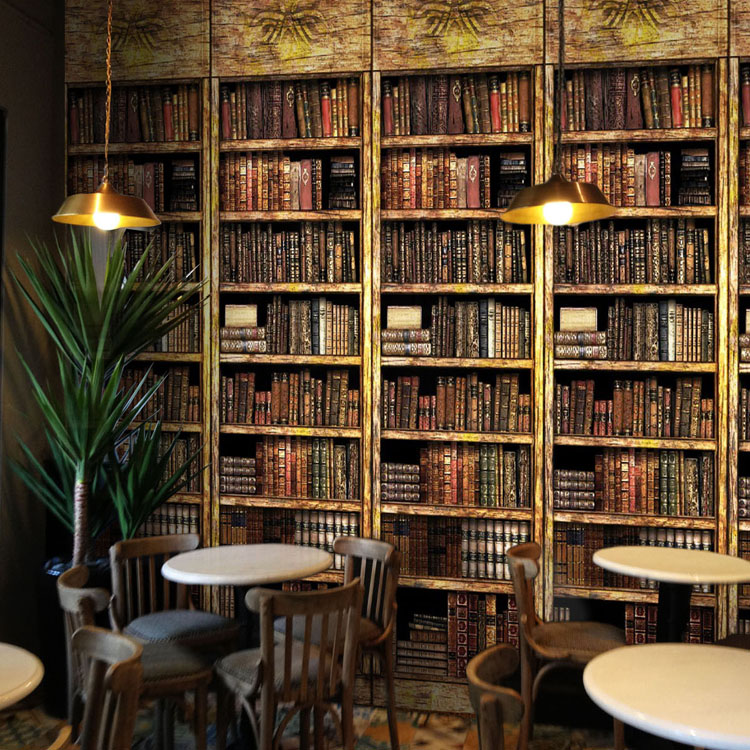 3D Stereo Mural Classical Bookshelf Wallpaper Western Restaurant Study Library Backdrop Wall Decor Murals In Wallpapers From Home Improvement On