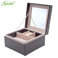 Small Jewelry Box Leather Makeup Casket For Jewelry Trave Case Birthday Gift Ring Earrings Necklace Storage