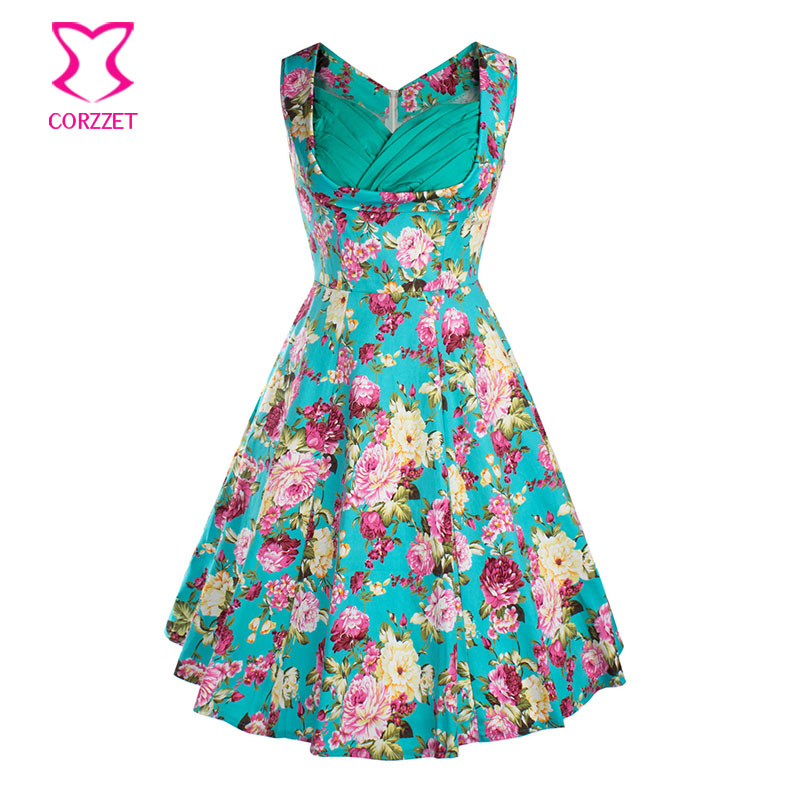 US $23.85 47% OFF|Corzzet Plus Size Women 50s Vintage Style Rockabilly  Dresses Retro Flower Floral Print Polka Dots Dress Party Robe Vestidos-in  ...