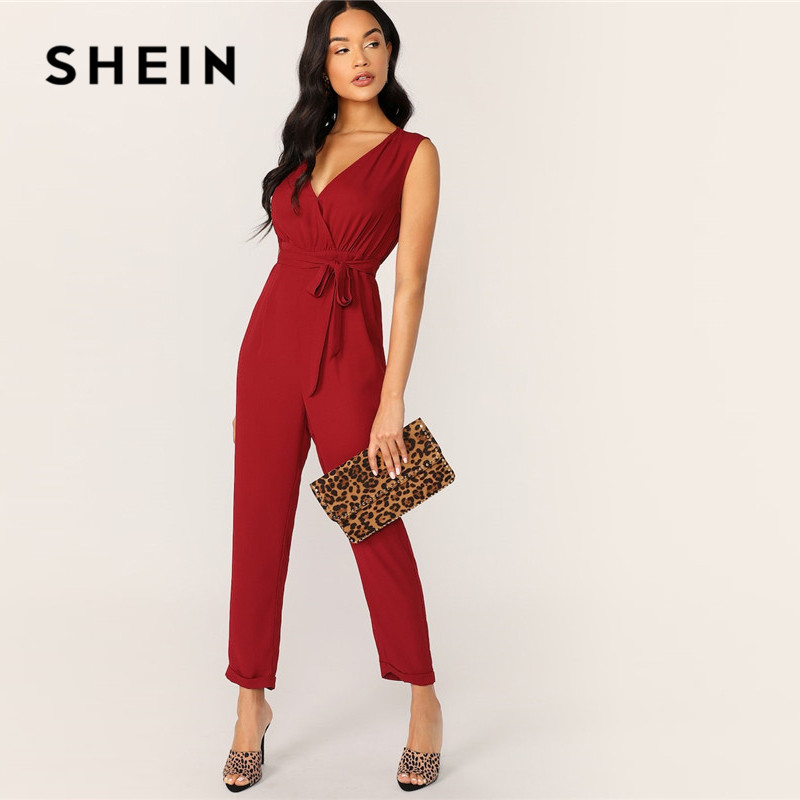 SHEIN Surplice Neck Self Belted Rolled Hem Summer   Jumpsuit   Women Clothes 2019 Deep V Neck Sleeveless Solid Sexy   Jumpsuit