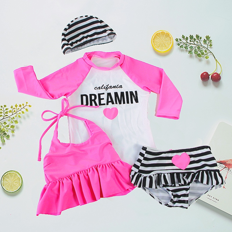 4pcs Bikni baby Swimwear Striped Swimming Suit for Kids Toddler Girl Bathing Suits biquini infantil Clothing Beach Clothes 6M