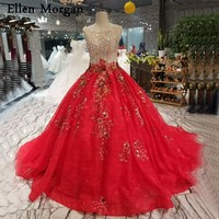 Red Lace Ball Gowns Wedding Dresses 2019 Custom Made Flowers Beads Backless Corset Real Photos Bridal Gowns for Women Wear