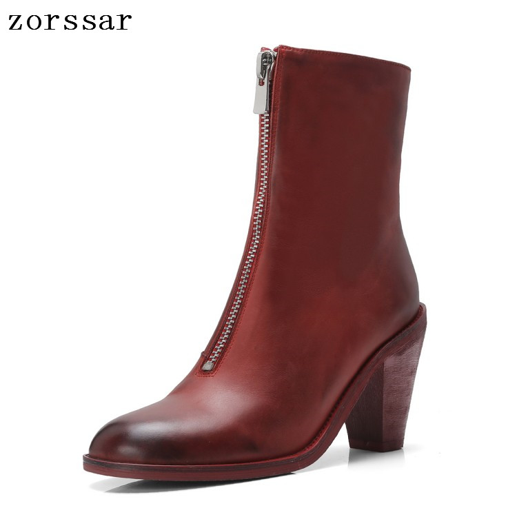 {Zorssar} Winter Women short Boots High Quality Solid black European Ladies shoes Genuine Leather Fashion High heel ankle Boots
