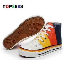 Hot 2017 Autumn New Arrival High Calf Canvas Shoes Elegant Woman's Casual Shoes Student Colorful Mix Color Ladies Flats C088-1