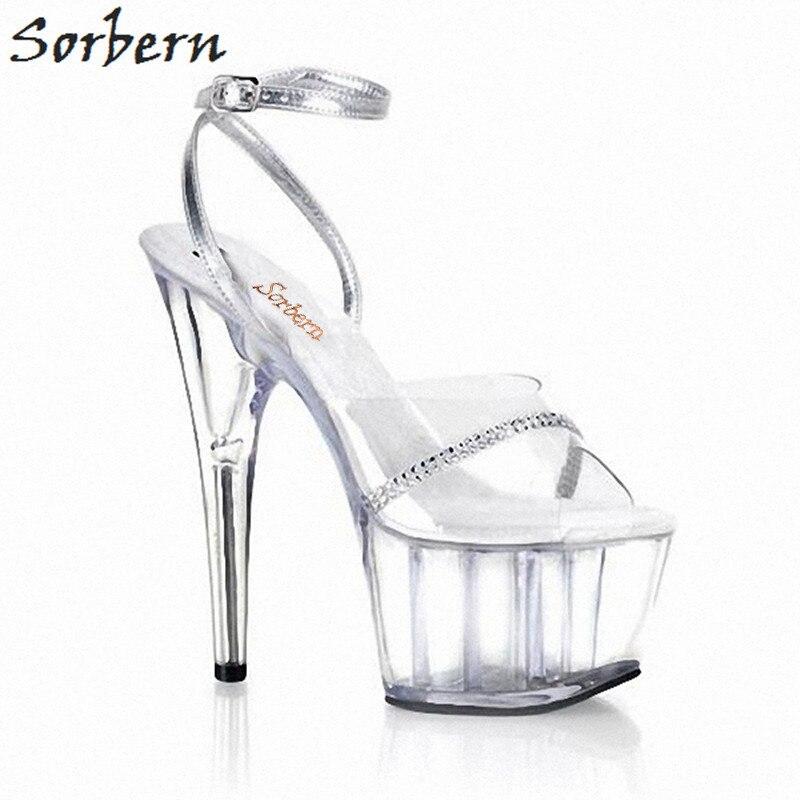 Sorbern Silver Crystals Clear Pvc Glitter Sandals Heels Gladiator Sandals Runway Shoes Woman 2018 Custom Color Open Toe Heels