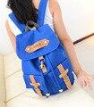 Qualidade da moda Saco de Lona Azul Mochila Escolar para a Menina Adolescente Capa Bolsa Para Laptop Sacos de Ombro Multi-funcional Mulheres Bagpack