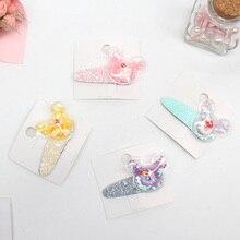 AHB Cute Glitter Hair Clips for Baby Girls Cartoon Jelly Bows Hairpin Summer Korean Doughnut BB Hairgrips Kids Accessories