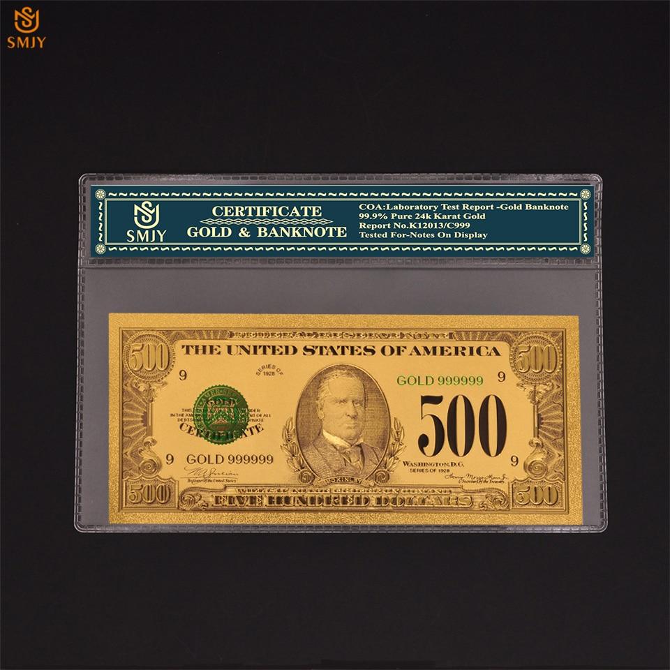 Sıcak ürünler abd para kağıt 1918 500 dolar altın kaplama sahte para banknot koleksiyonları COA çerçeve ile