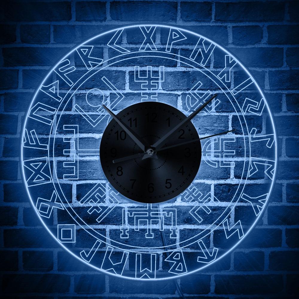 Norse Rune Compass Luminous Wall Clock With LED Light Viking Runes Acrylic LED Edge Lit Wall Clock Man Cave Bar Lighted Sign