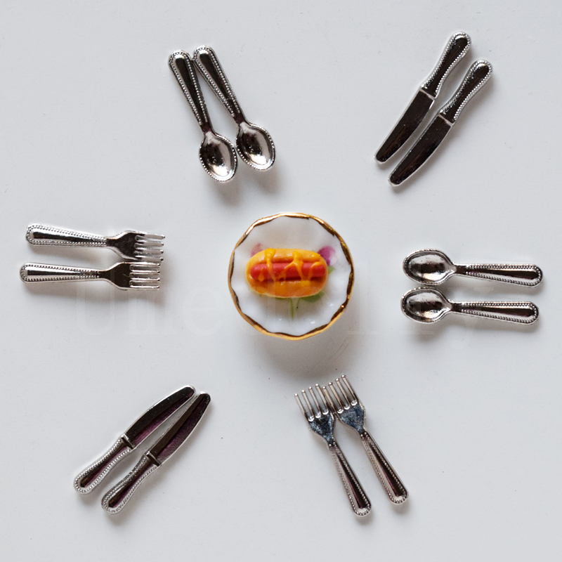 Cutlery 12 Fork Spoon Puppenha Miniature Doll House other Fast Q3T1