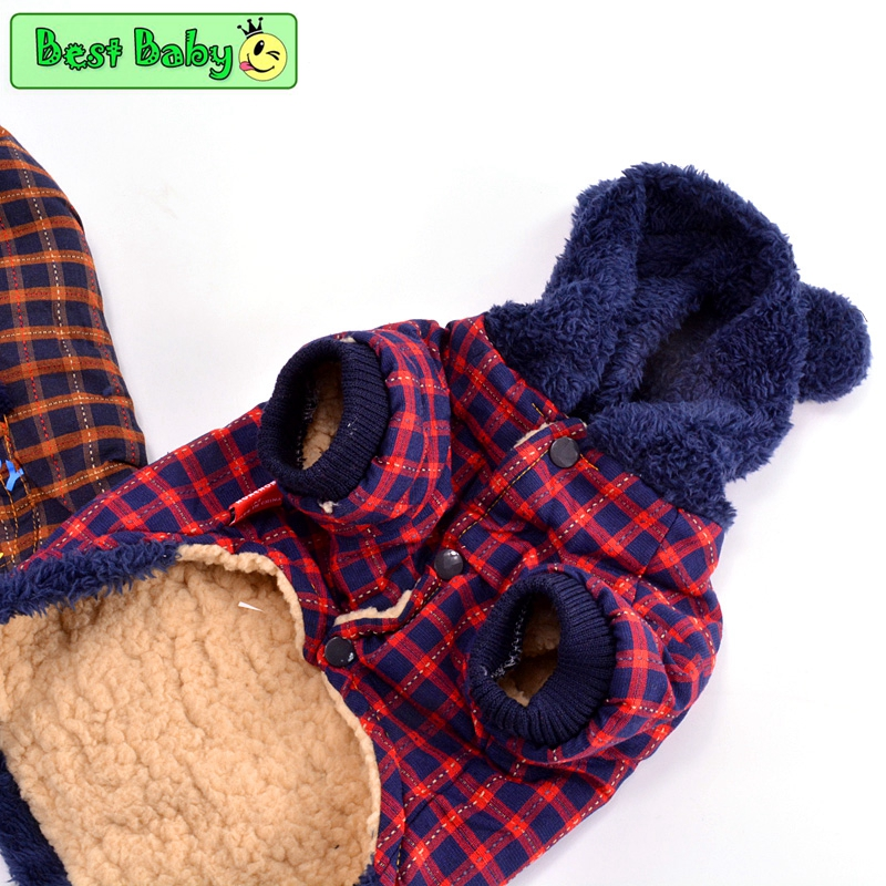 BeeBee Clothes For Dogs Yorkshire Grid Flannel Winter Pet Small Animals Jacket Apparel For Puppies Cats Yorkie Toy Terrier Pugs