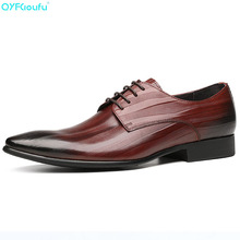 Pointy Men Formal Flats Oxford Shoes For Man Slip-on Business Genuine Leather Brand Dress