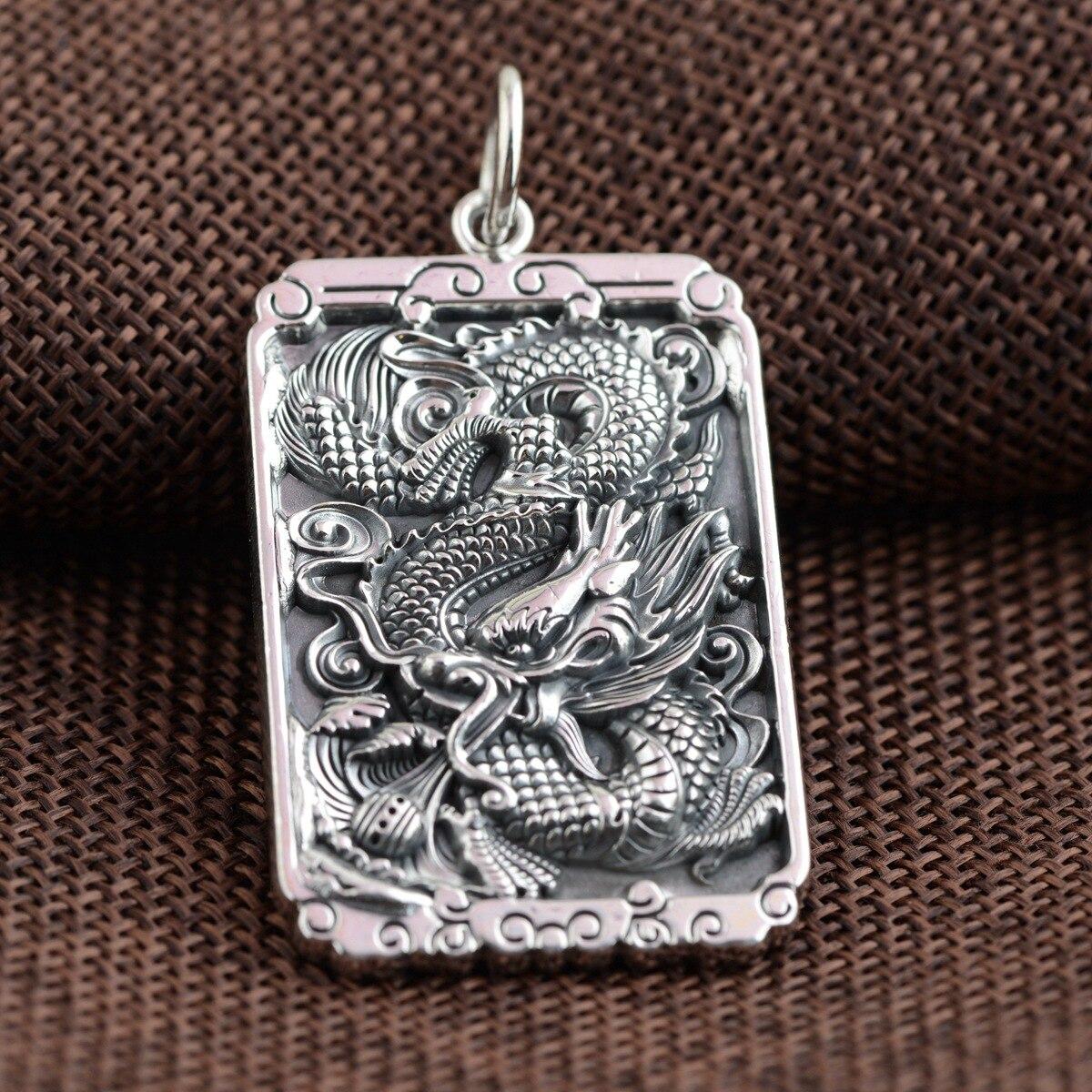 En gros 999 pendentif en argent processus en argent style antique personnalité nouveau dragon totem