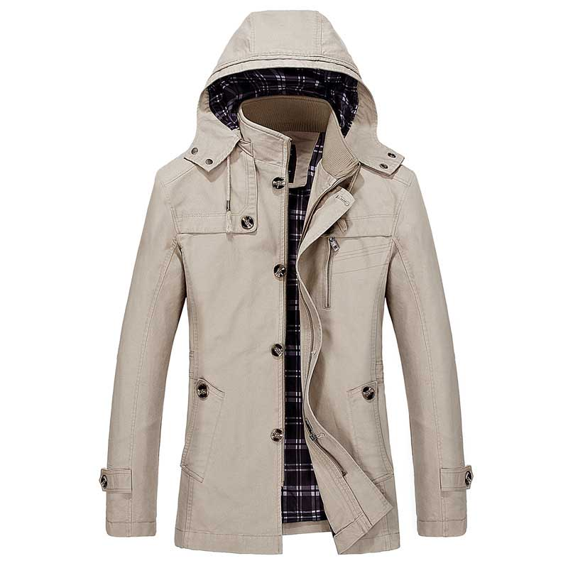Spring Autumn Classic Trench Coat Men Hooded Casual Jacket Cotton Stand Collar Mid Length Windbreaker Korean Style Big Size 5XL