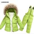 Conjunto Crianças Roupas de Inverno Meninos quentes Terno de Esqui Jaqueta Menina Para Baixo casaco + Macacão Definir 1-6 Anos de Roupas Para O Bebé/Bebê Da Menina