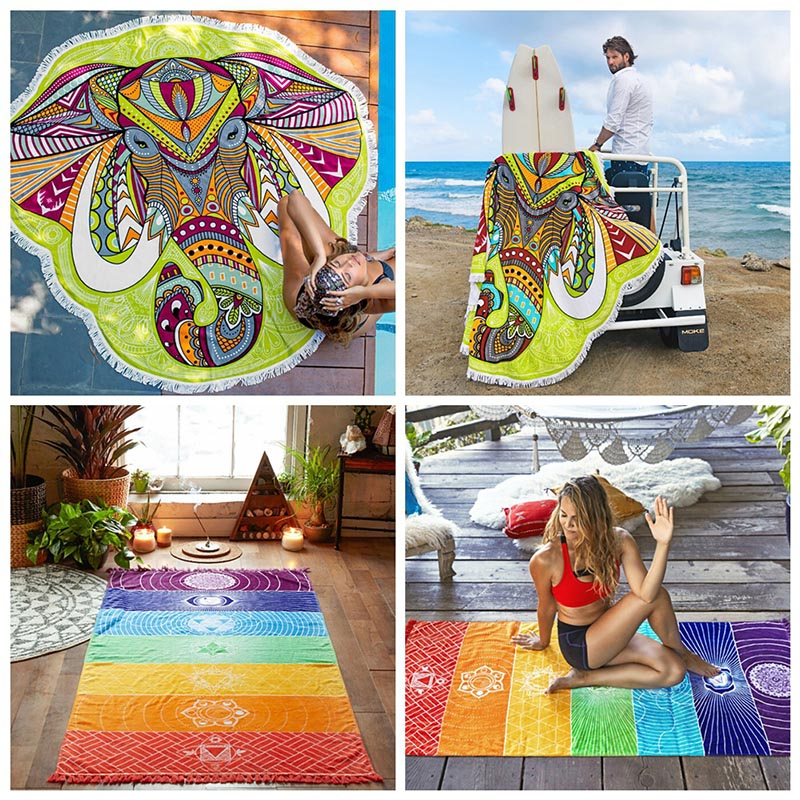 Wall Hanging Mandala Mandala Blanket Elephant Tapestry Rainbow Stripes Travel Summer