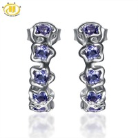 Hutang Natural Iolite Flower Earrings Solid 925 Sterling Silver Gemstone Fine Jewelry Women S Mother S
