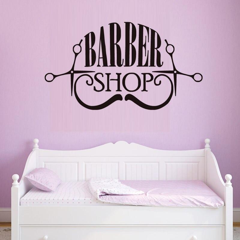 Barber Shop Vinyl Wall Sticker Hair Make Up Shop Logo Art Decals Removable High Quality Wall Decals