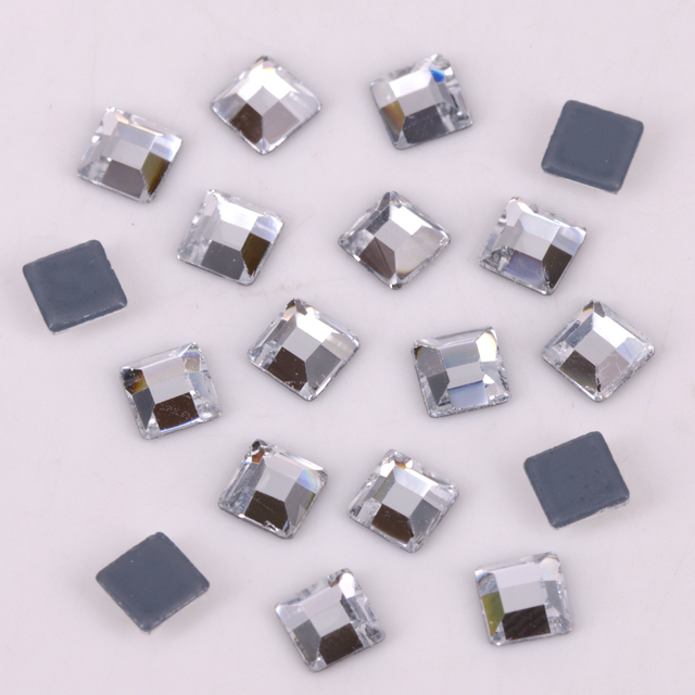 c84beb4556 US $2.59 24% OFF Lead Free AAA 3mm, 4mm, 5mm, 6mm Crystal Clear Square  Hotfix Rhinestones / Iron On Flat Back Crystals-in Rhinestones from Home &  ...