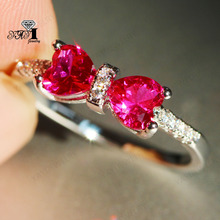 Ювелирные изделия yayi принцесса огранка 3.5CT красный циркон серебро заполненные обручальные кольца с сердцем День Святого Валентина кольцо для девочек 1060