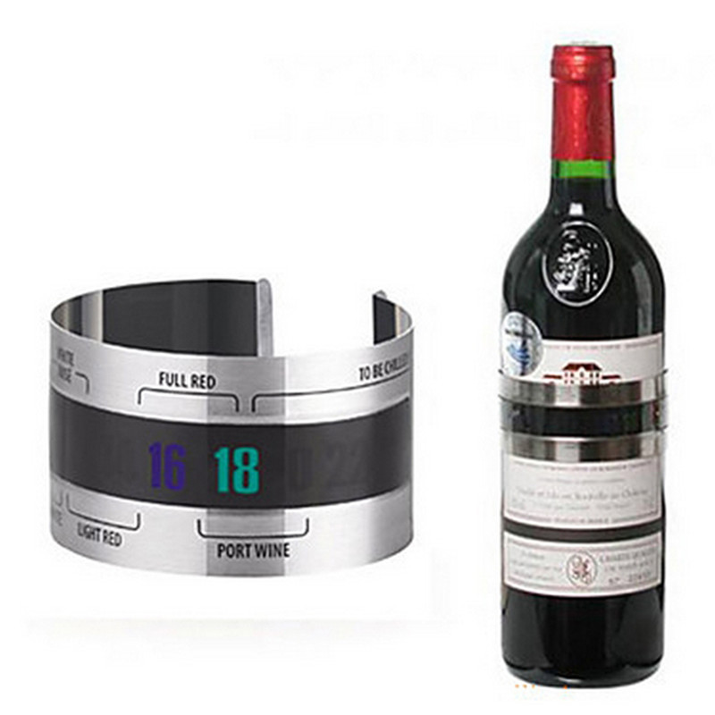 Kreative Edelstahl Flasche Wein <font><b>Thermometer</b></font> LCD Display Portion Party Checker Armband <font><b>Thermometer</b></font> <font><b>Shop</b></font> Bar Küche Werkzeuge image