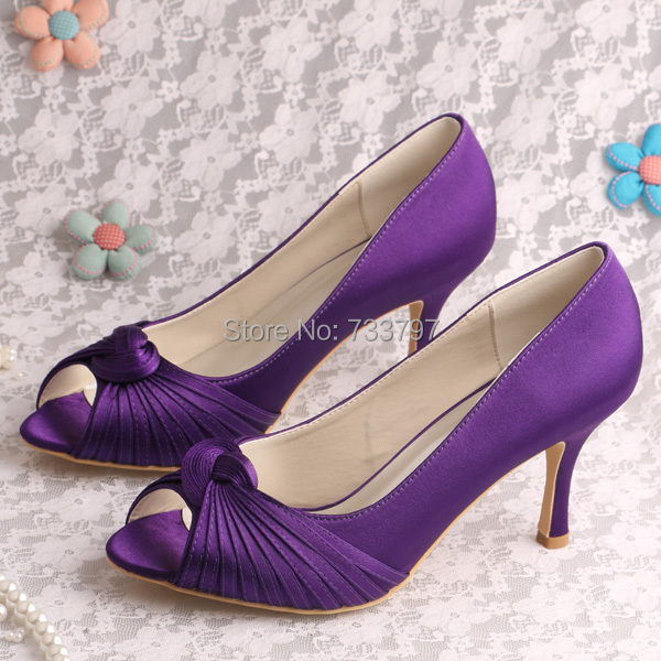 ФОТО Wedopus Custom Handmade Fashion High Heel 8CM Purple Shoes Bridal Open Toe