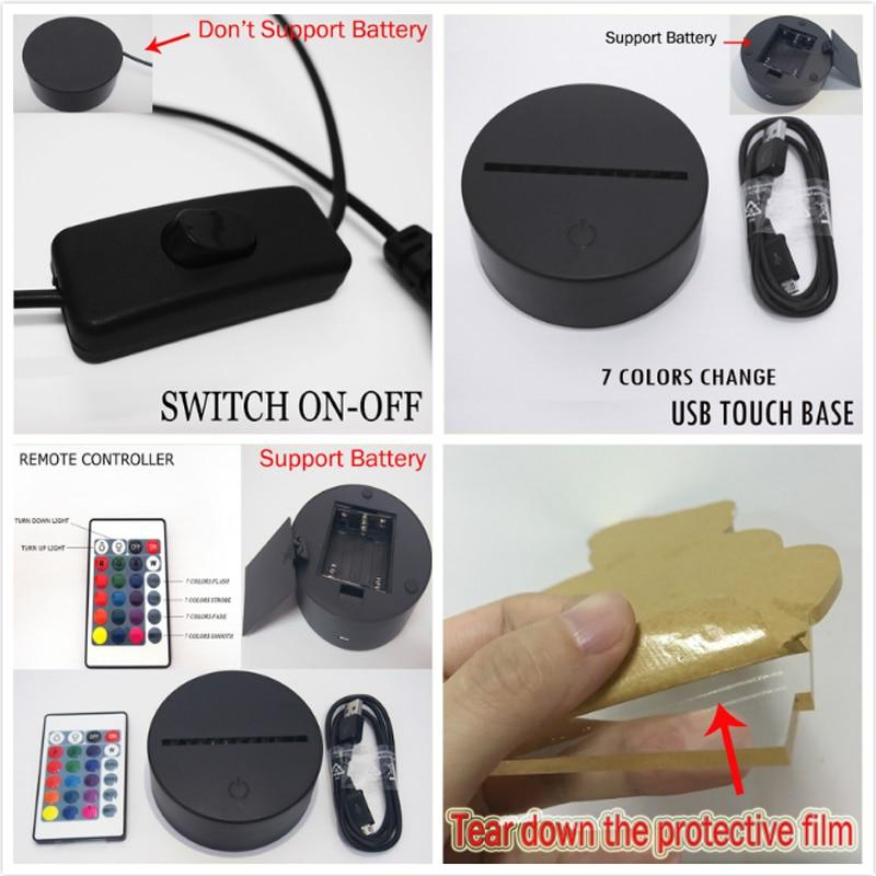 Nouveau 3D Caméra Tactile Télécommande LED 7 Changement De Couleur - Veilleuses - Photo 6