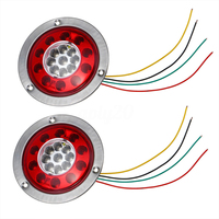 Vehemo Double Color 2pcs Universal Durable Rear Lamps Stop Indicator Replacement Tail Lights Caravan Warning Lights