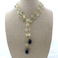 N122903 40'' Faceted Black Shell Necklace