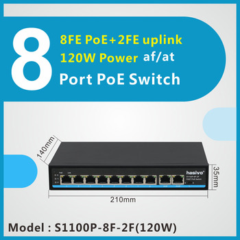 xinray brand new 8 port poe switch 10 100m ieee802 3 max distance 150m for ip camera security nvr system 2 rj45 lan port 8 port Fast Switch  PoE switch support VLAN  250M  PoE Network for IP Camera 10/100Mbps Network 2 gigabit uplink