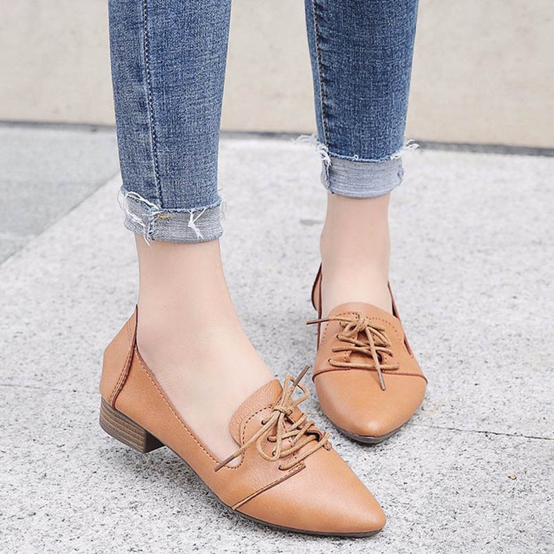 AINER CAT Spring Women Platform Shoes Woman Brogue Patent Leather Flats Lace Up Footwear Female Flat Oxford Shoes For Women beffery 2018 british style patent leather flat shoes fashion thick bottom platform shoes for women lace up casual shoes a18a309