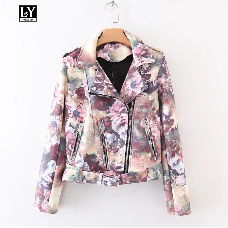 Ly Varey Lin Women Faux Soft   Leather   Floral Print   Suede   Jacket Short Coat Female Motorcycle Epaulet Zipper Rivet   Suede   Outerwear