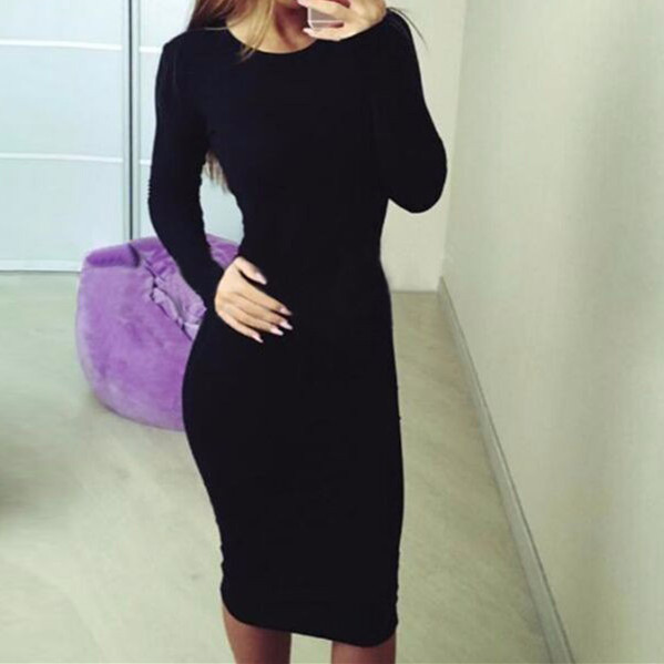 Women Long Sleeve O-Neck  Dress