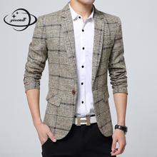 YAUAMDB мужские блейзеры весна-осень M-4XL мужской костюм клетчатые куртки с карманами одежда на одной пуговице Повседневная тонкая мужская одежда ly79