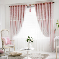 Simple Modern Lace Finished Blackout Curtain Princess Wind Floral Curtains for Living Dining Room Bedroom Double Floating