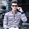 Troilus New Business Casual Mens Tee Shirts Fashion High-grade Stripe Slim Fit Long Sleeve Polo Mens Clothing Turn-down Collar